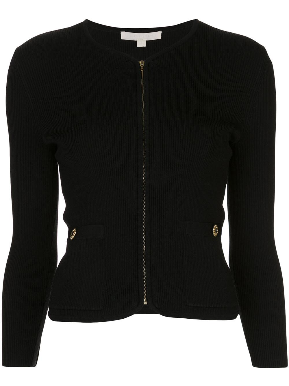 Long Sleeve Rib Knit Zip -Up Jacket