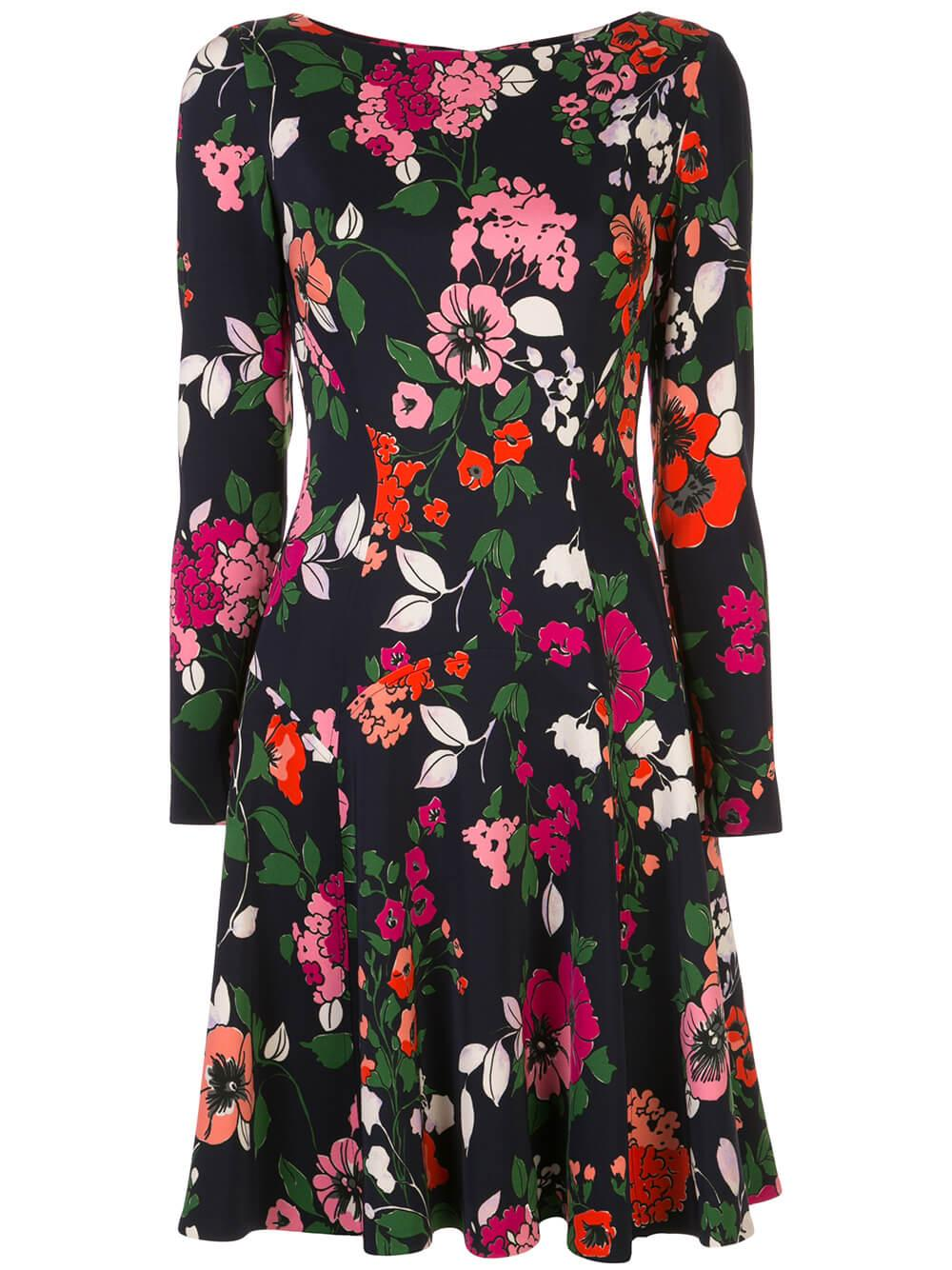 Long Sleeve Floral Printed Crepe Seamed Dress