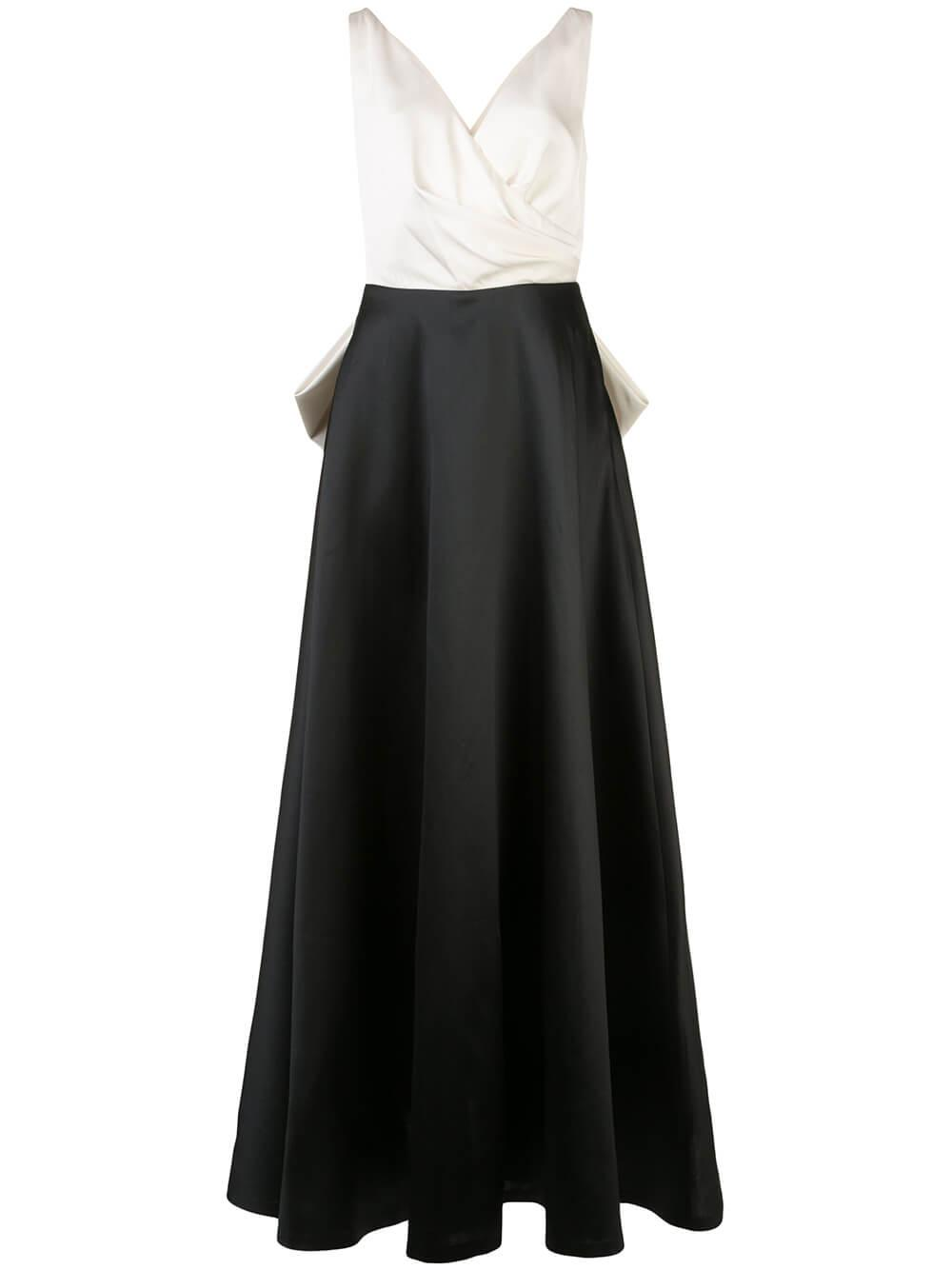 Cleo V Neck Ball Gown With Back Bow