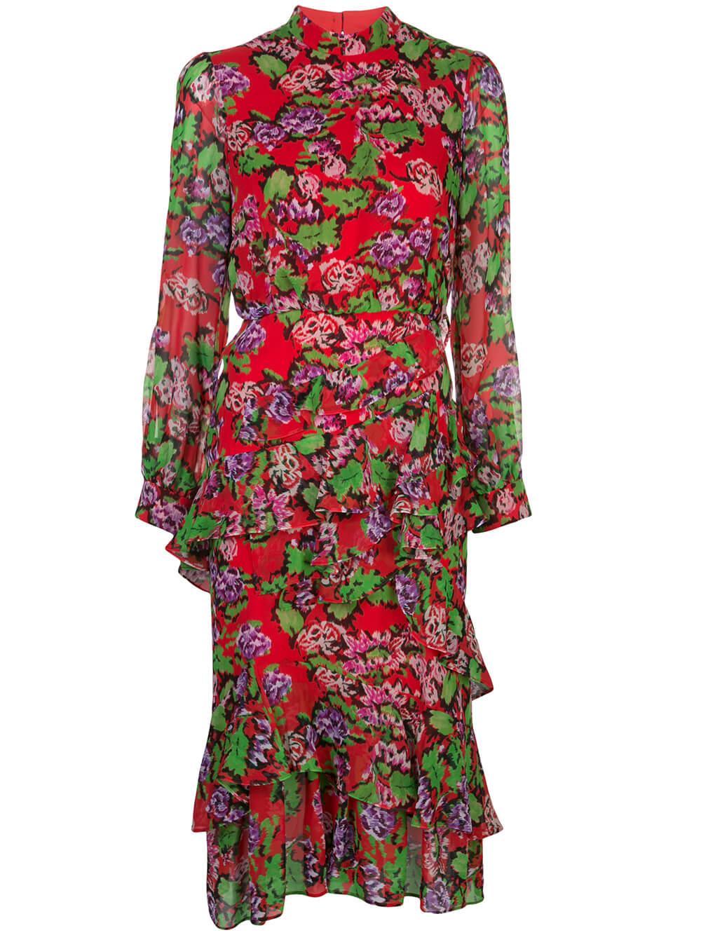 Isa Ruffle Long Sleeve Midi Dress