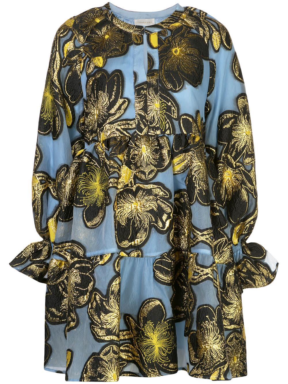 Ivana Organza Floral Print Dress