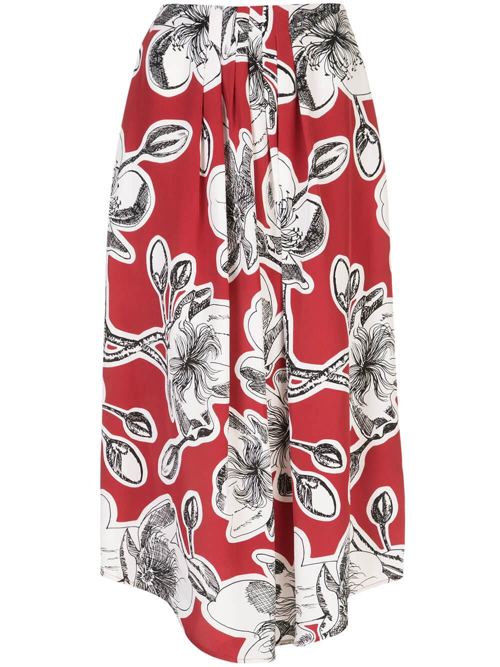 Blossom Dahlia Print Midi Skirt