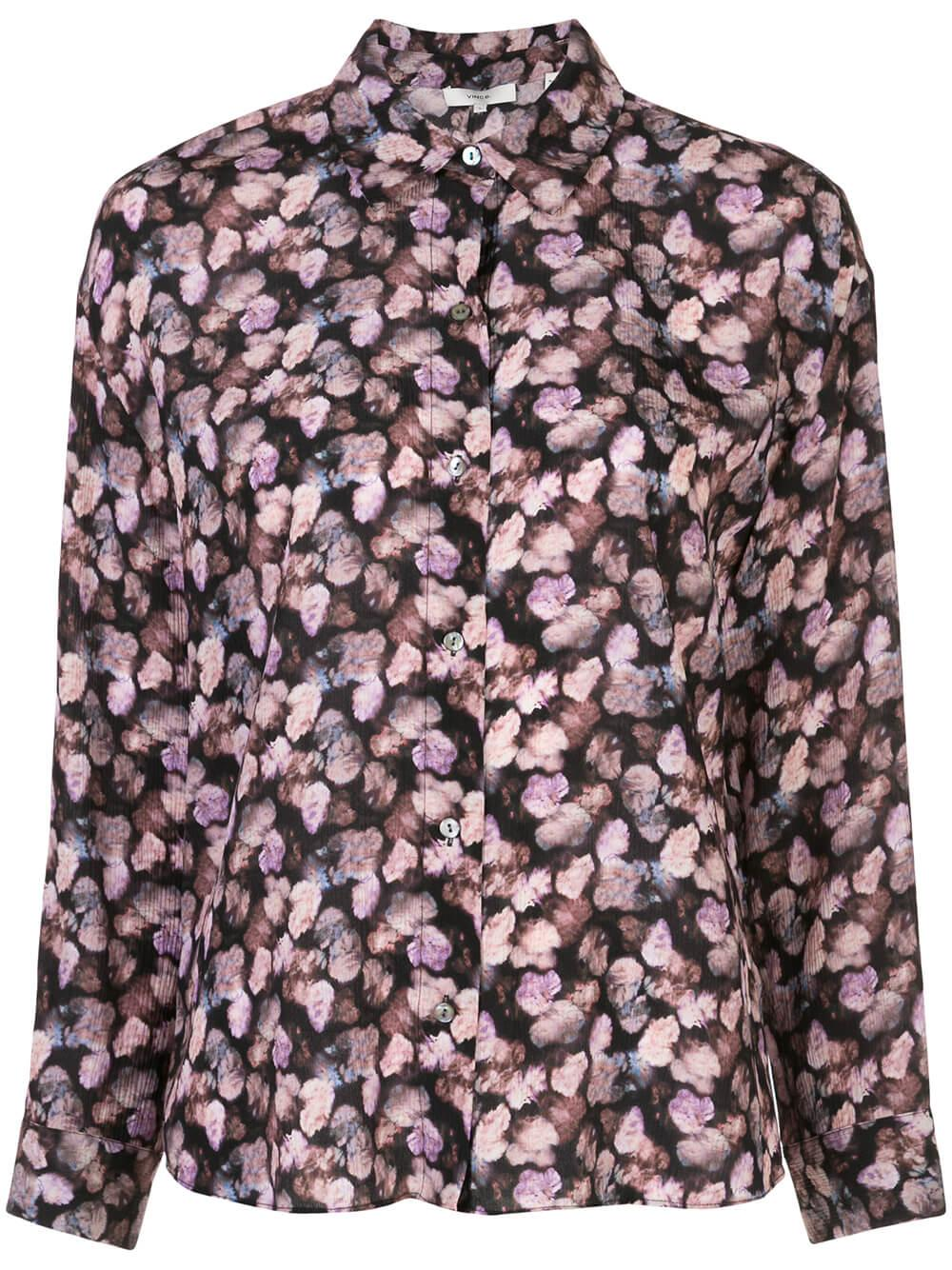 Micro Painted Floral Blouse Item # V631412266