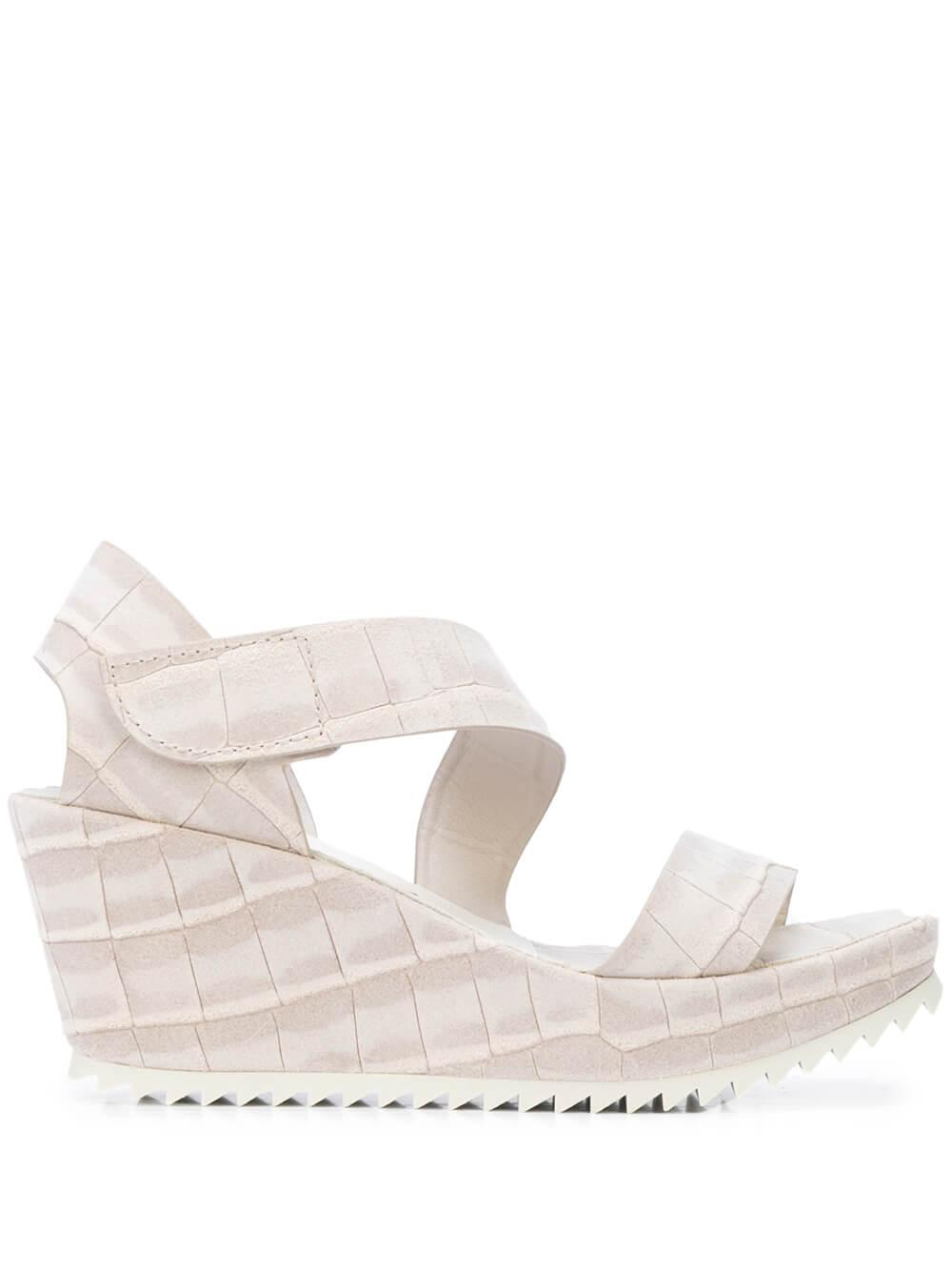 Crock Embossed Platform Wedge Sandal