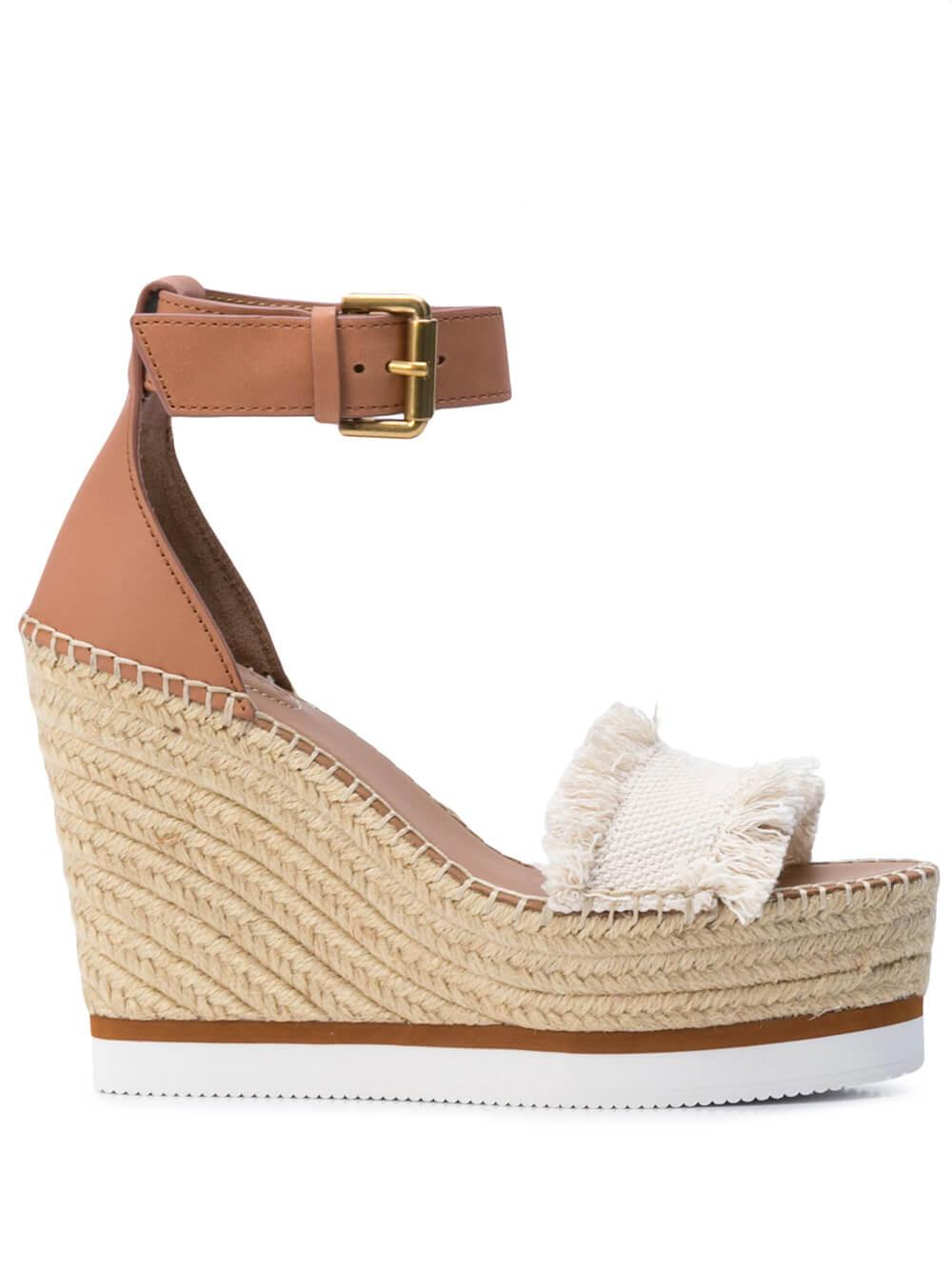 Leather Wedge With Ankle Strap