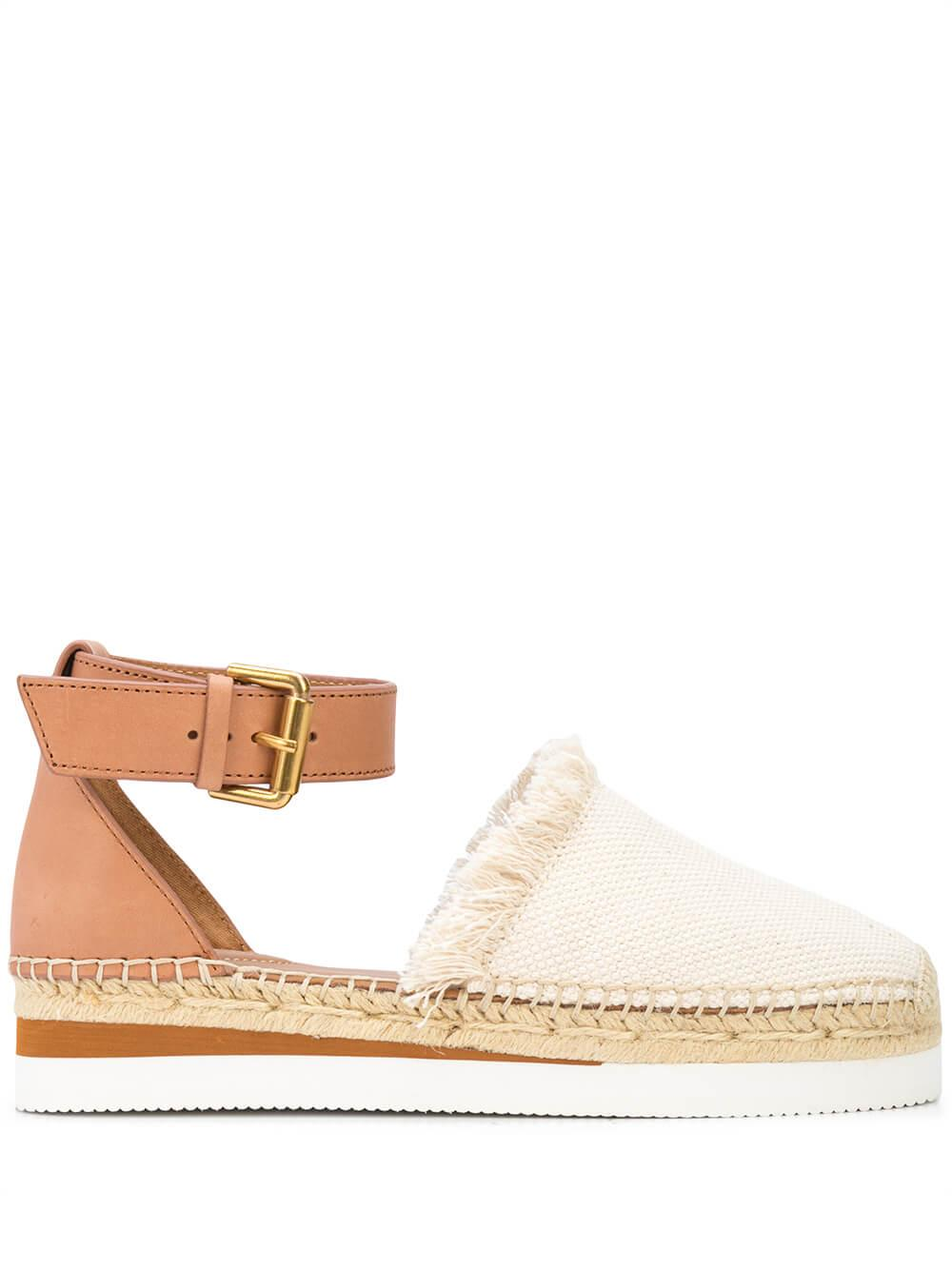 Canvas/Leather Platform Espadrille