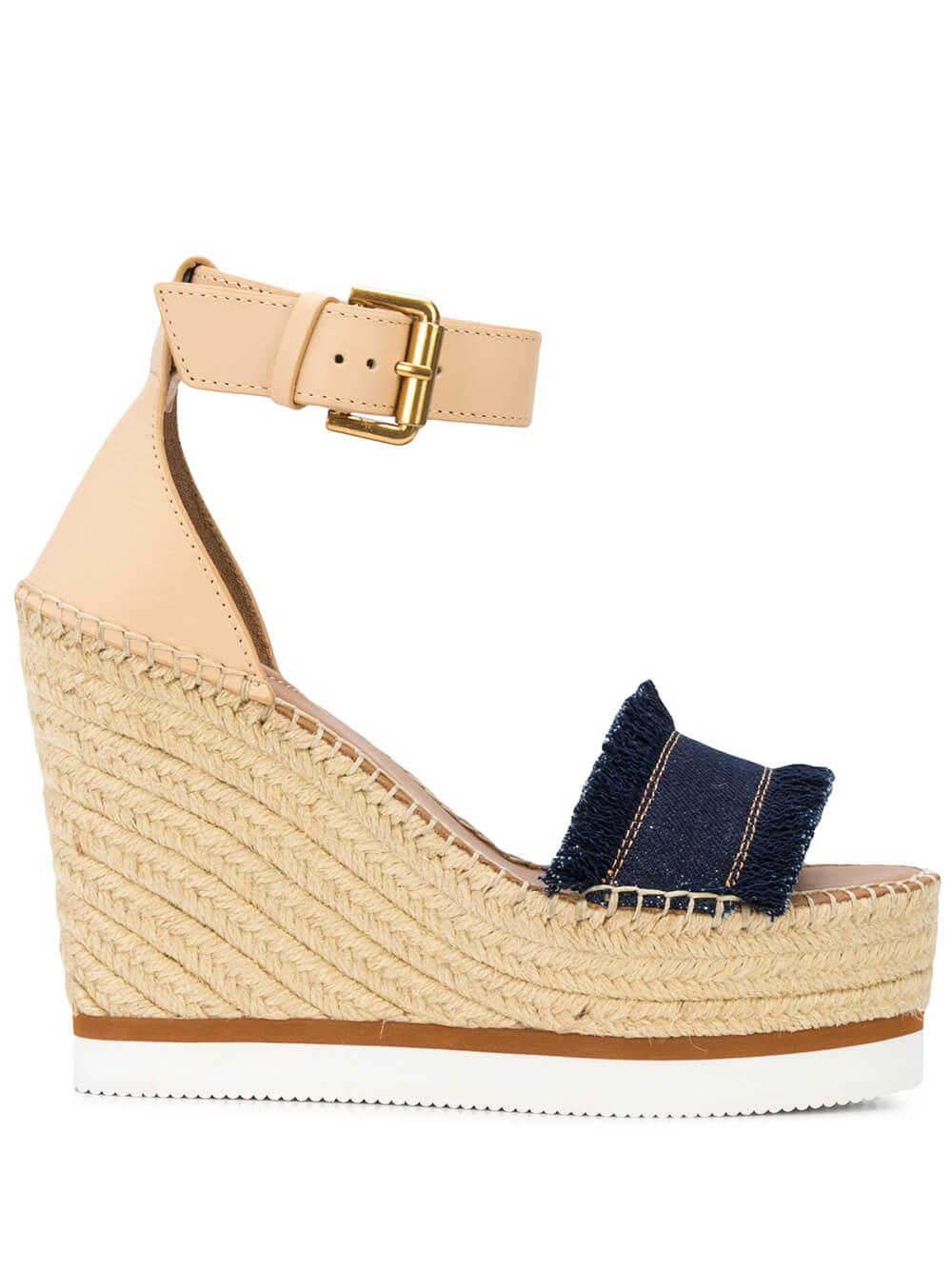 Canvas/Leather Platform Wedge With Ankle Strap