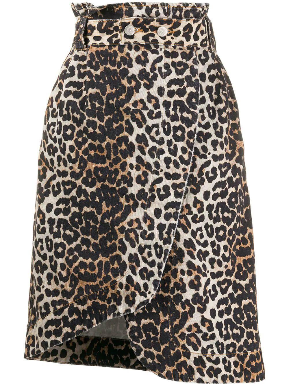 Leopard Print Denim Skirt Item # F4194