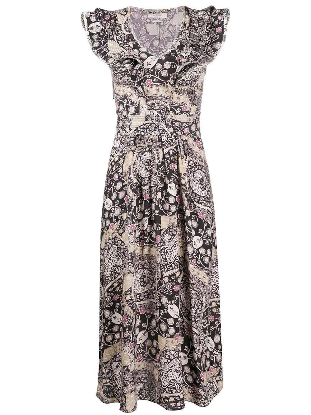 Ruffle Shoulder Printed Midi Dress Item # CORALINE-PRINT