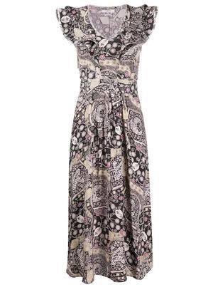 Ruffle Shoulder Printed Midi Dress