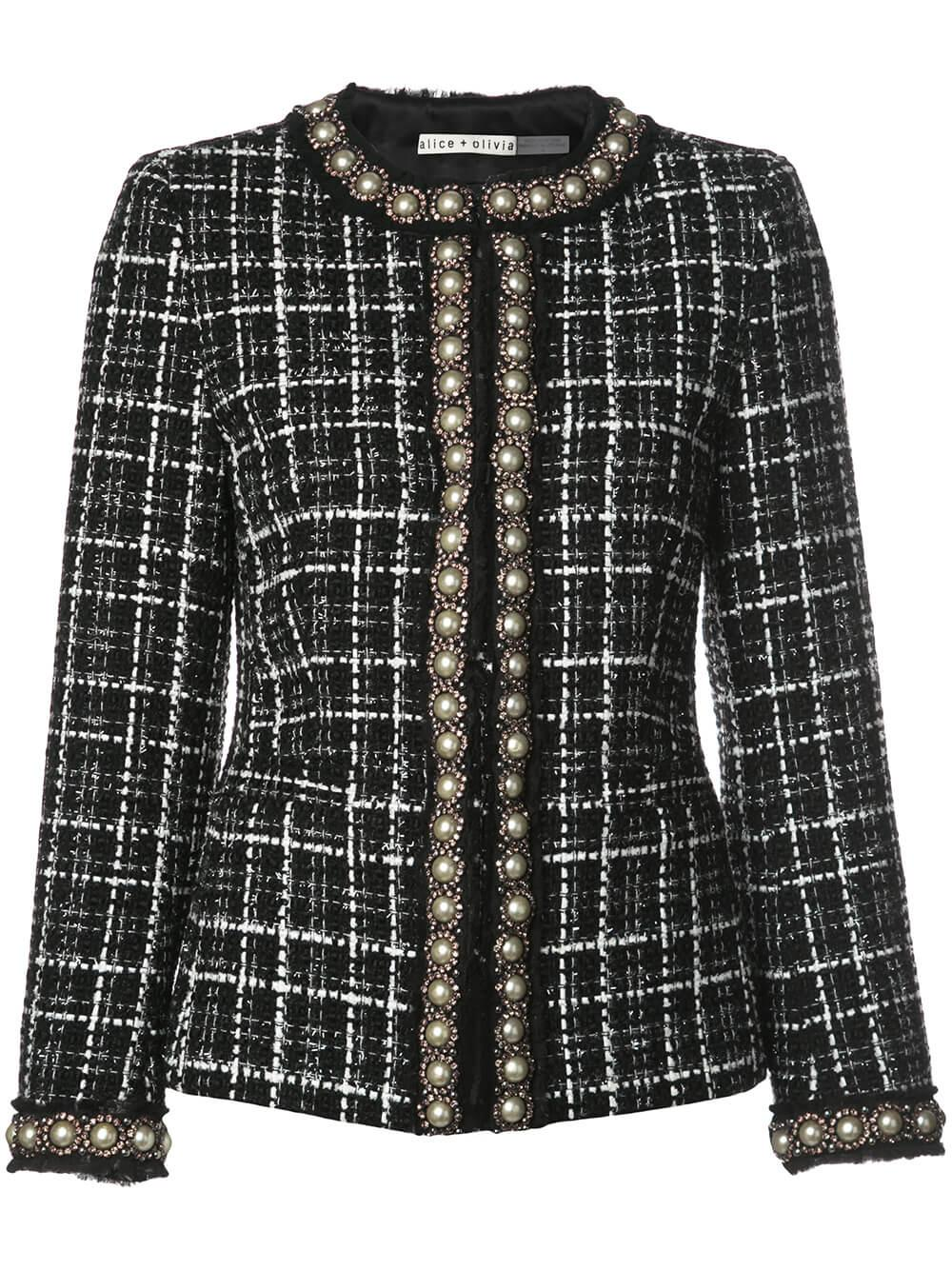 Carmen Embellished Fitted Tweed Blazer