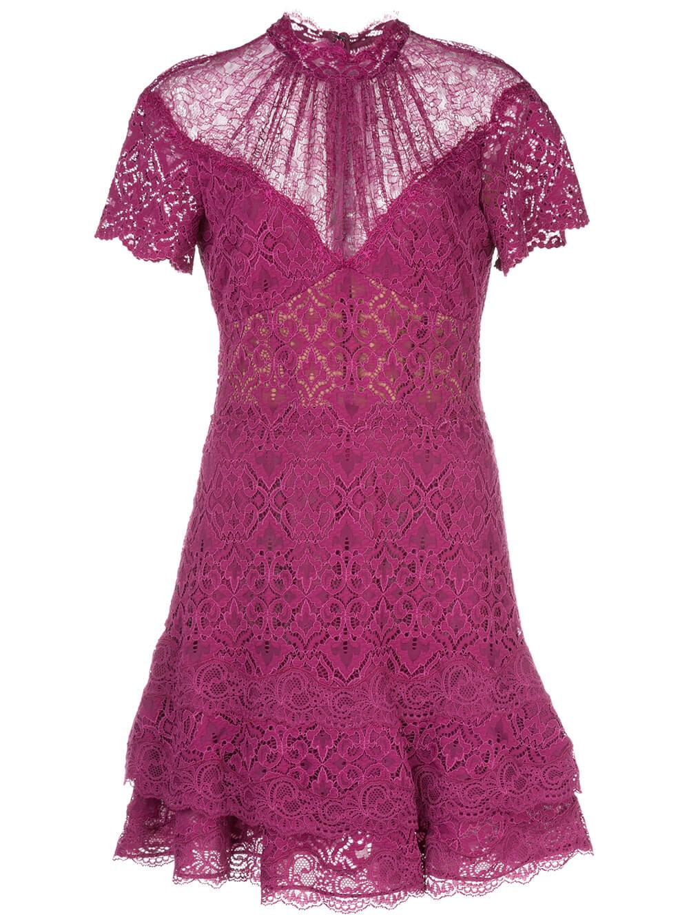 Short Sleeve Multimedia Lace Mini Ruffle Dress
