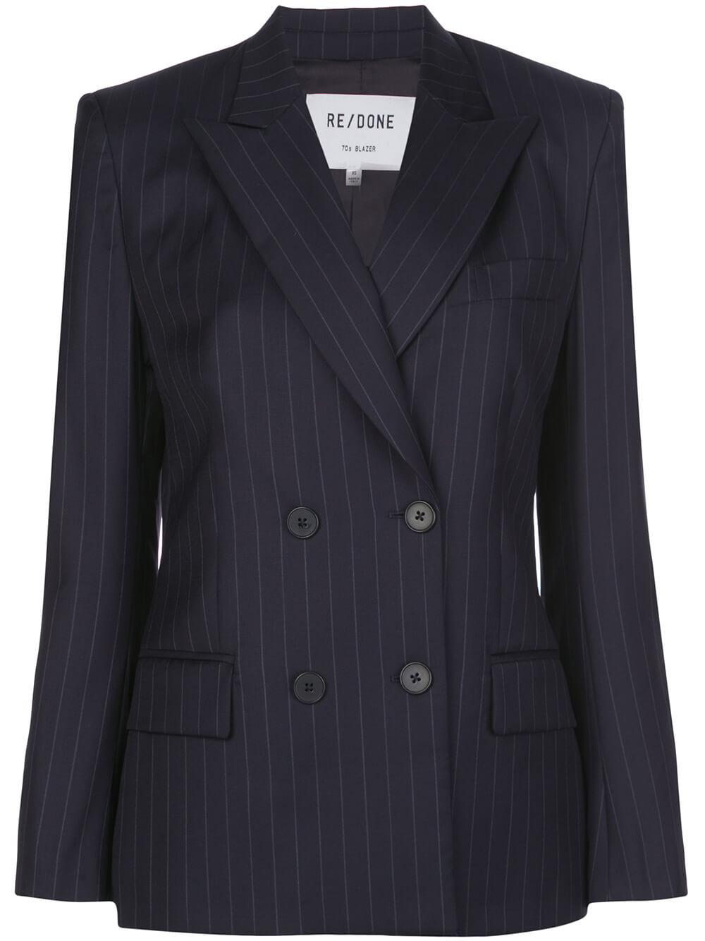 70`s Pinstripe Double Breasted Blazer