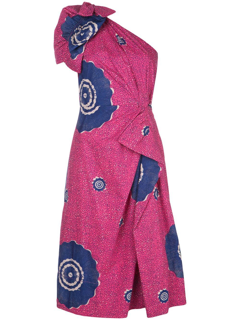 Idra One Shoulder Cotton Printed Dress