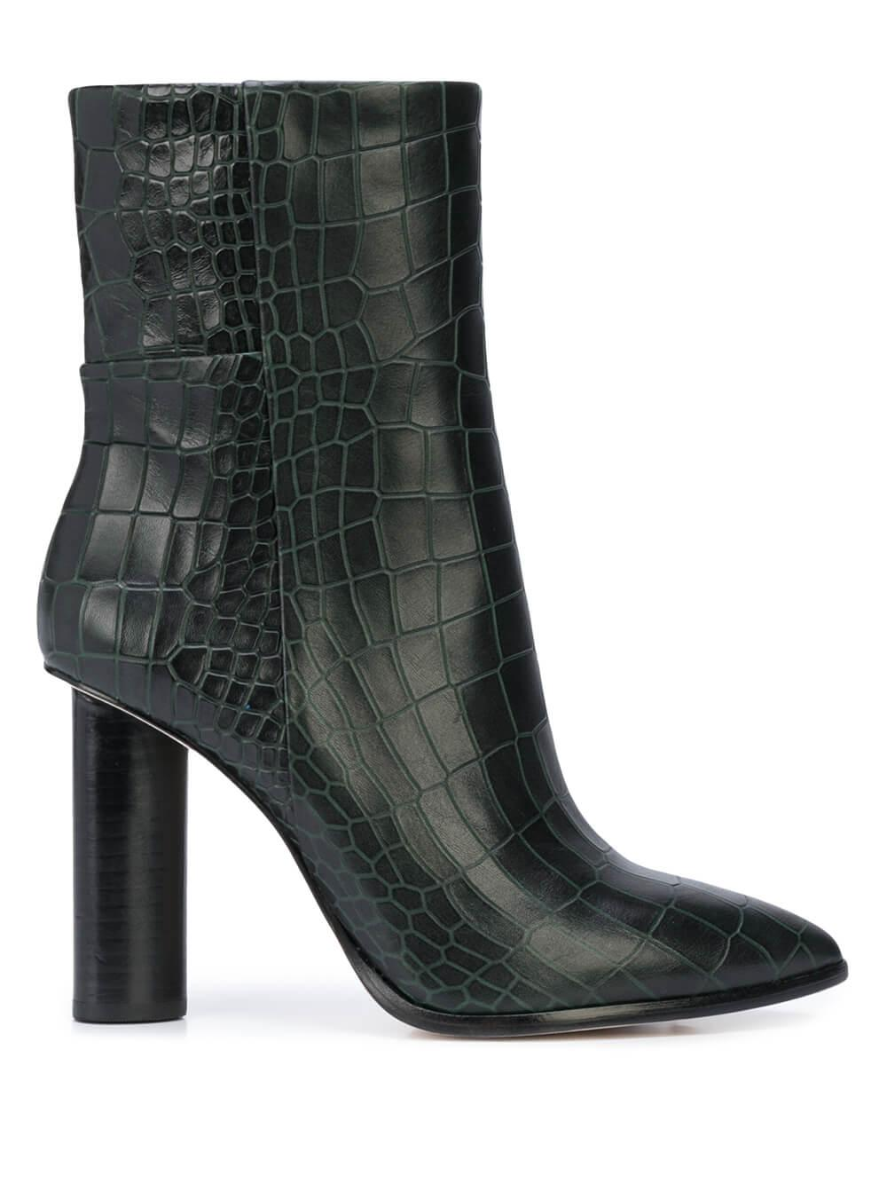 Kaylee Green Croc Side Zip Boot