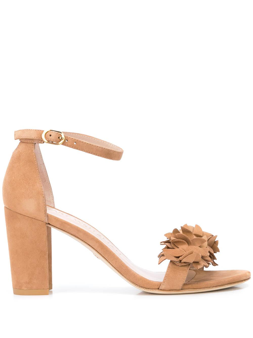 Suede 75MM Block Heel Sandal With Flower