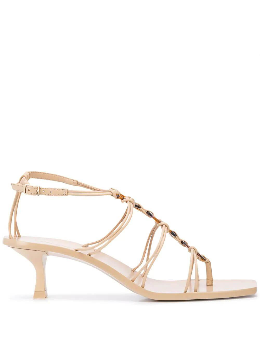 Ziba Strappy Knotted Sandal With Kitten Heel Item # F2-02LT