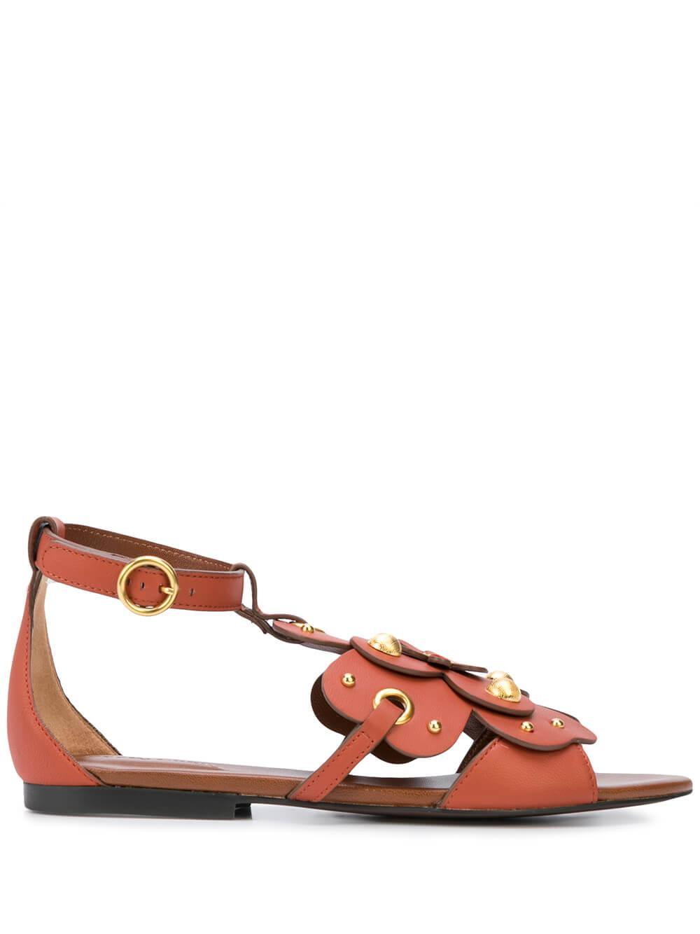 Flat Leather Sandal With Oversized Flora