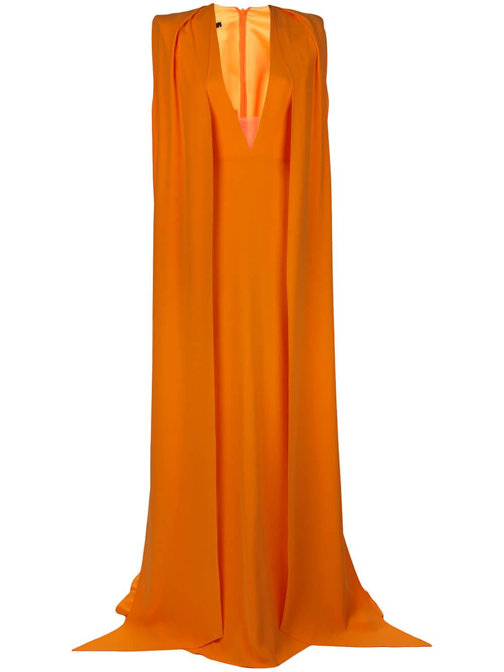 Vander V Neck Cape Sleeve Gown Item # D615