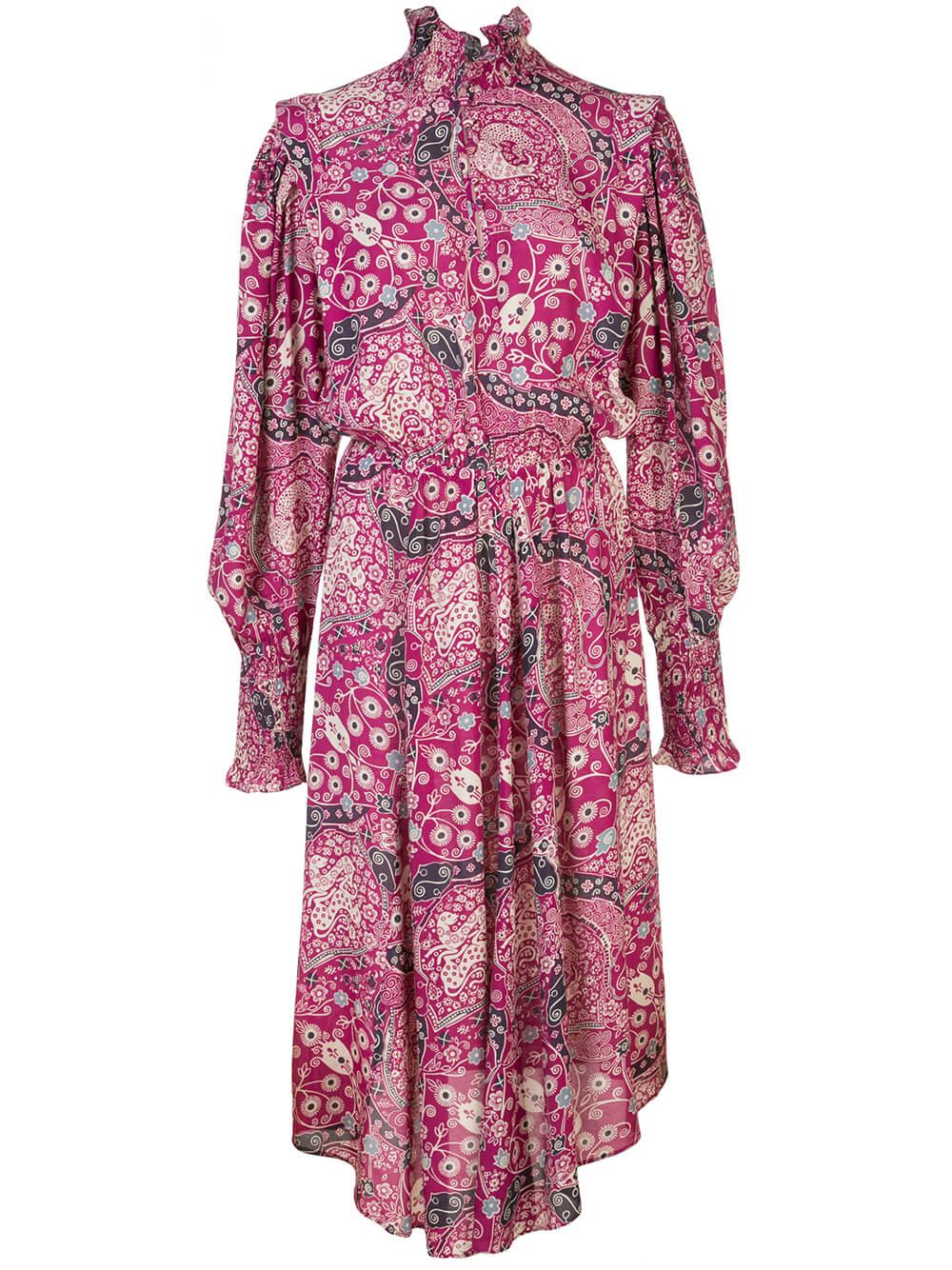 Long Sleeve Print Midi Dress With Smocked Cuff