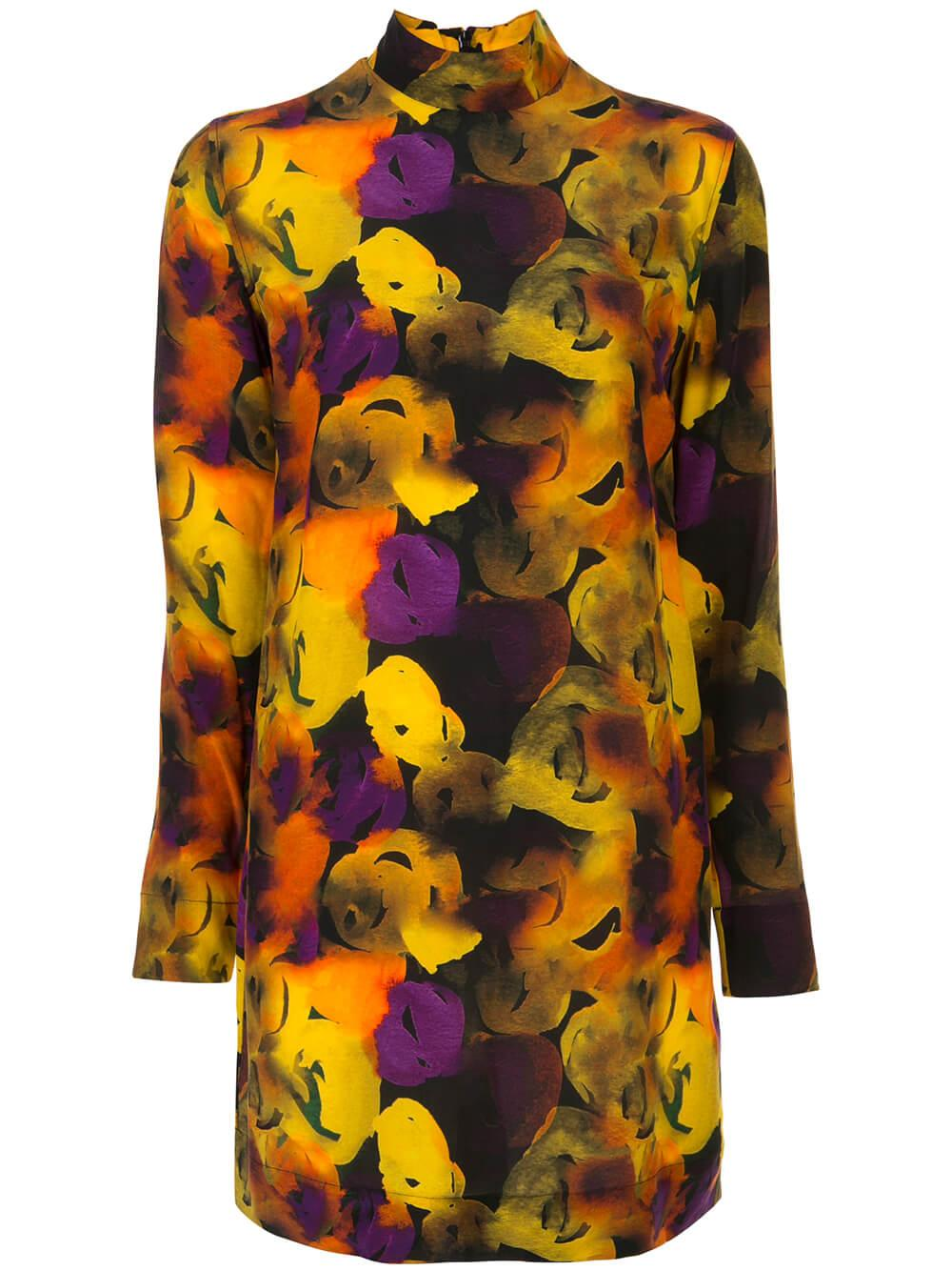 Silk Mix Lemon Print Dress Item # F4133
