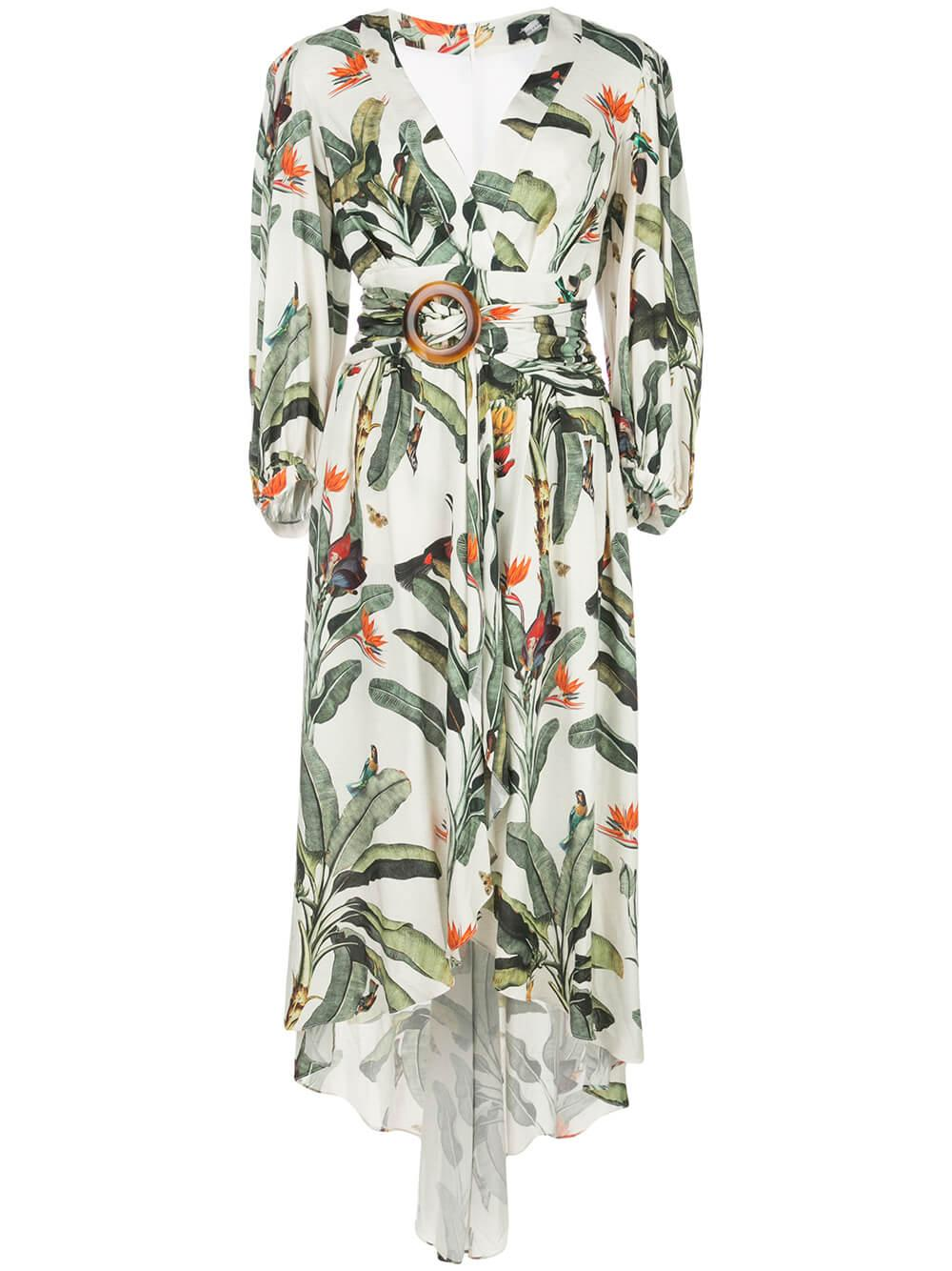 Tropical Print High Low Romper Item # MAC187US