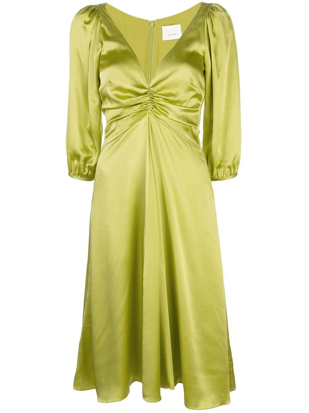 Zosia Silk Satin 3/4 Sleeve Midi Dress