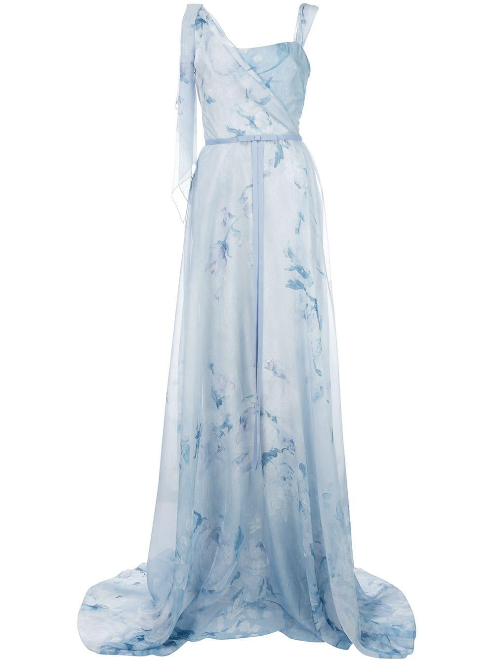One Shoulder Printed Chiffon Gown