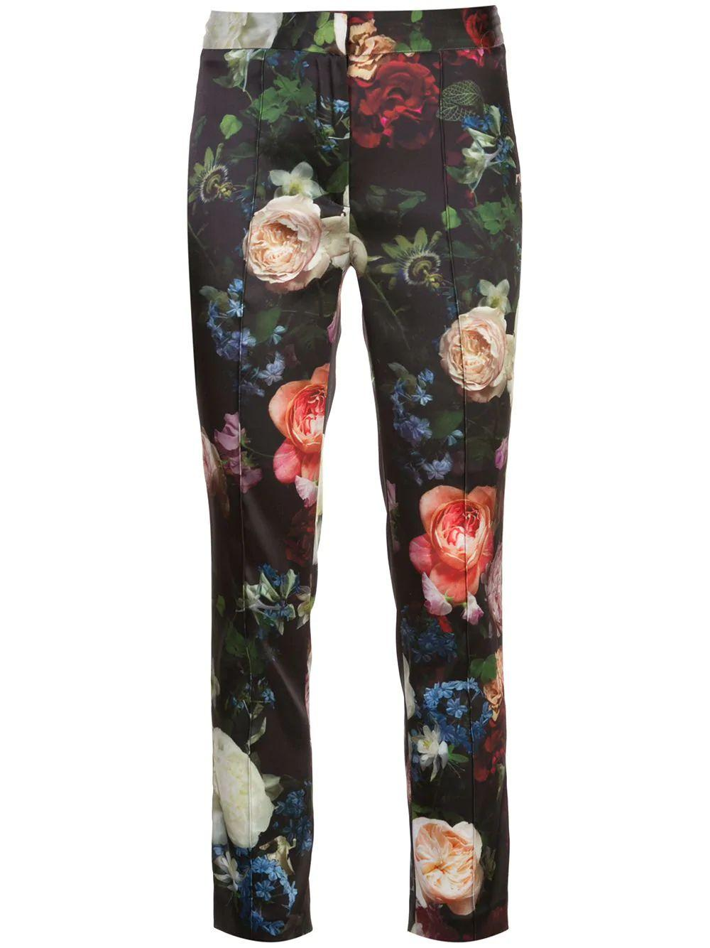 Stretch Satin Floral Print Cigarette Pant