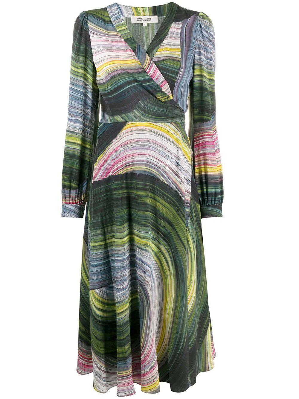 Natalie Long Sleeve Midi Wrap Dress Item # 14022DVF