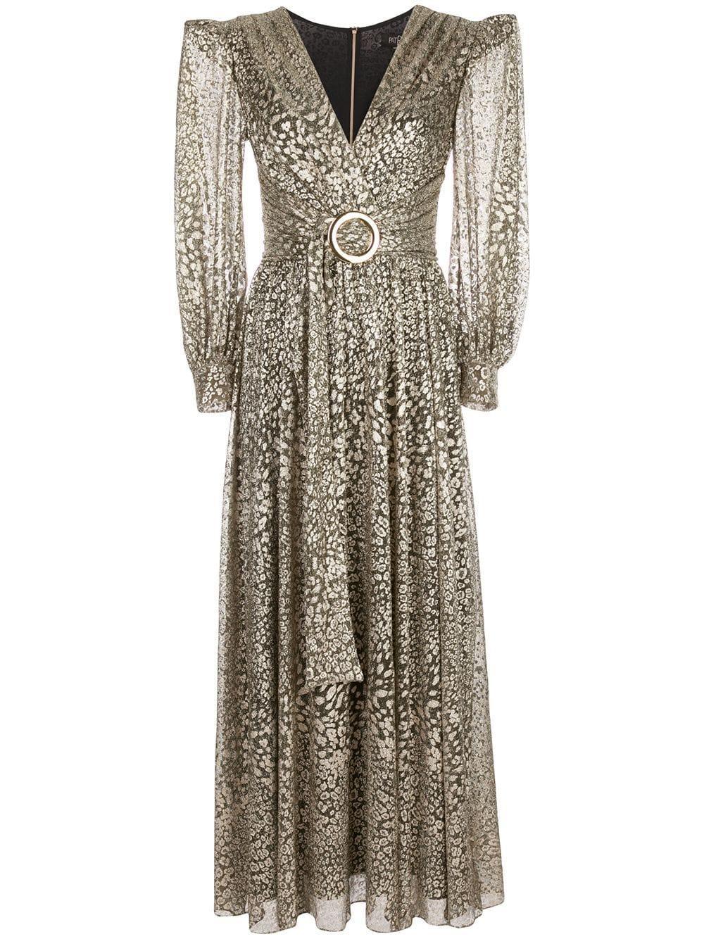 Metallic Leopard Belted Maxi Dress
