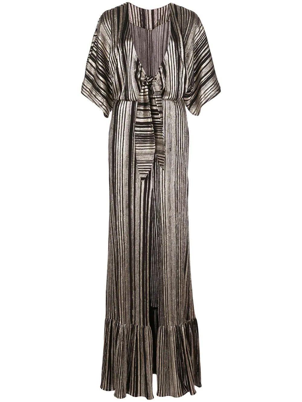 Metallic Stripe Kimono Sleeve Maxi Dress Item # VES2443US