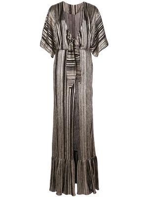 Metallic Stripe Kimono Sleeve Maxi Dress