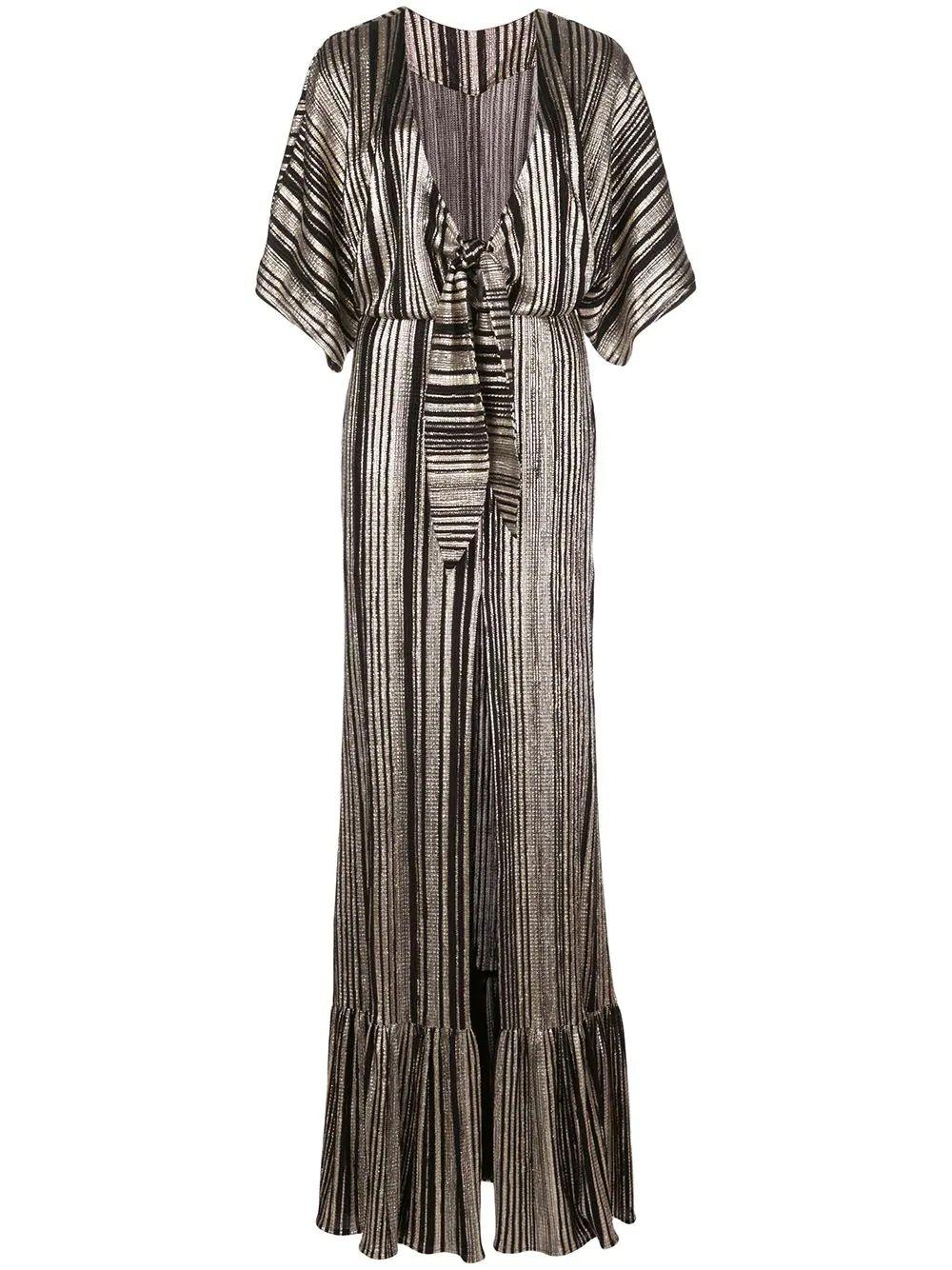 Metallic Stripe Kimono Sleeve Maxi Dress