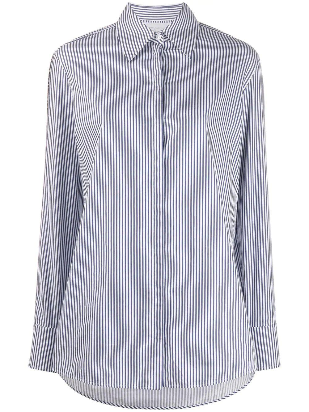 Split Slv Stripe Button Down Shirt