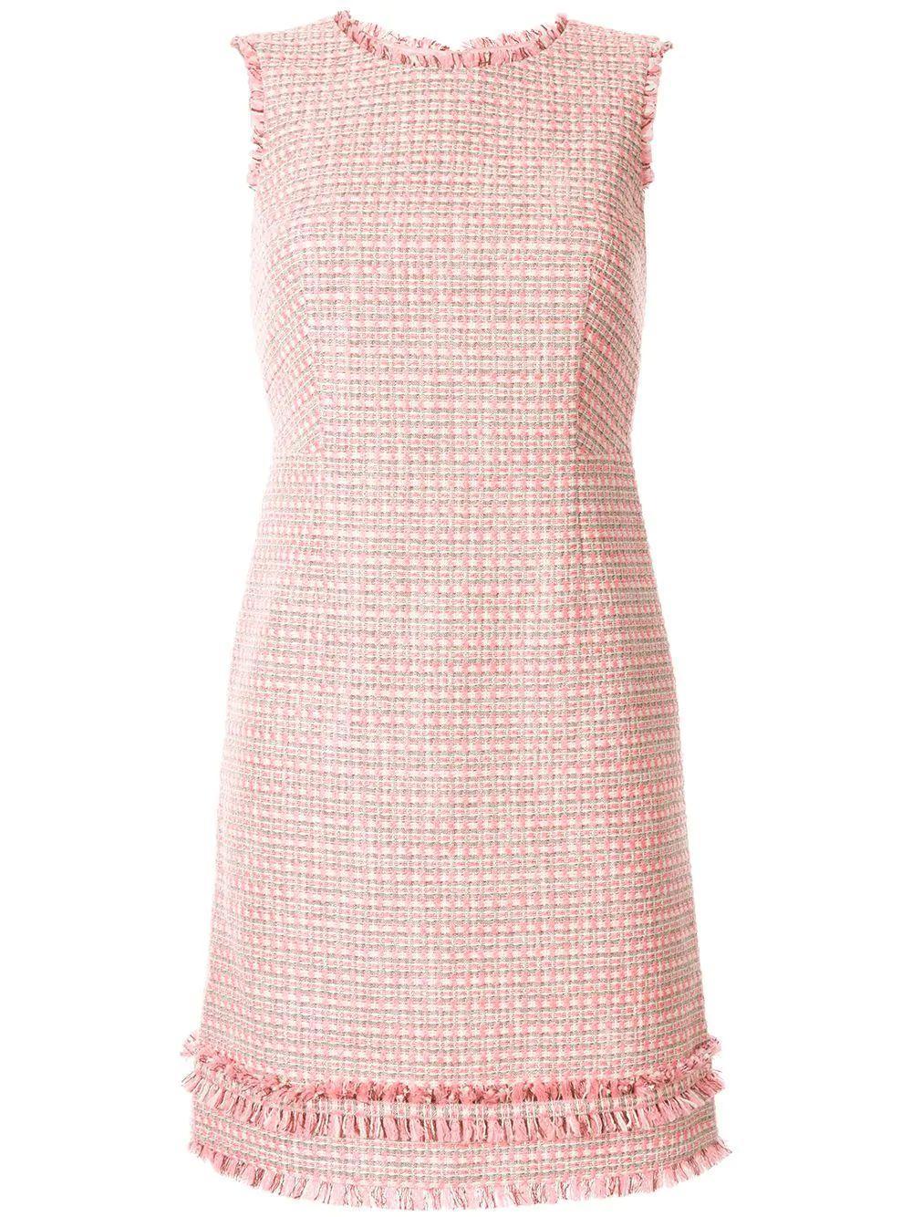 Sleeveless Woven Sheath Dress With Fringe Hem Item # 131/R47C