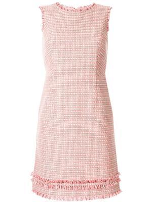 Sleeveless Woven Sheath Dress With Fringe Hem