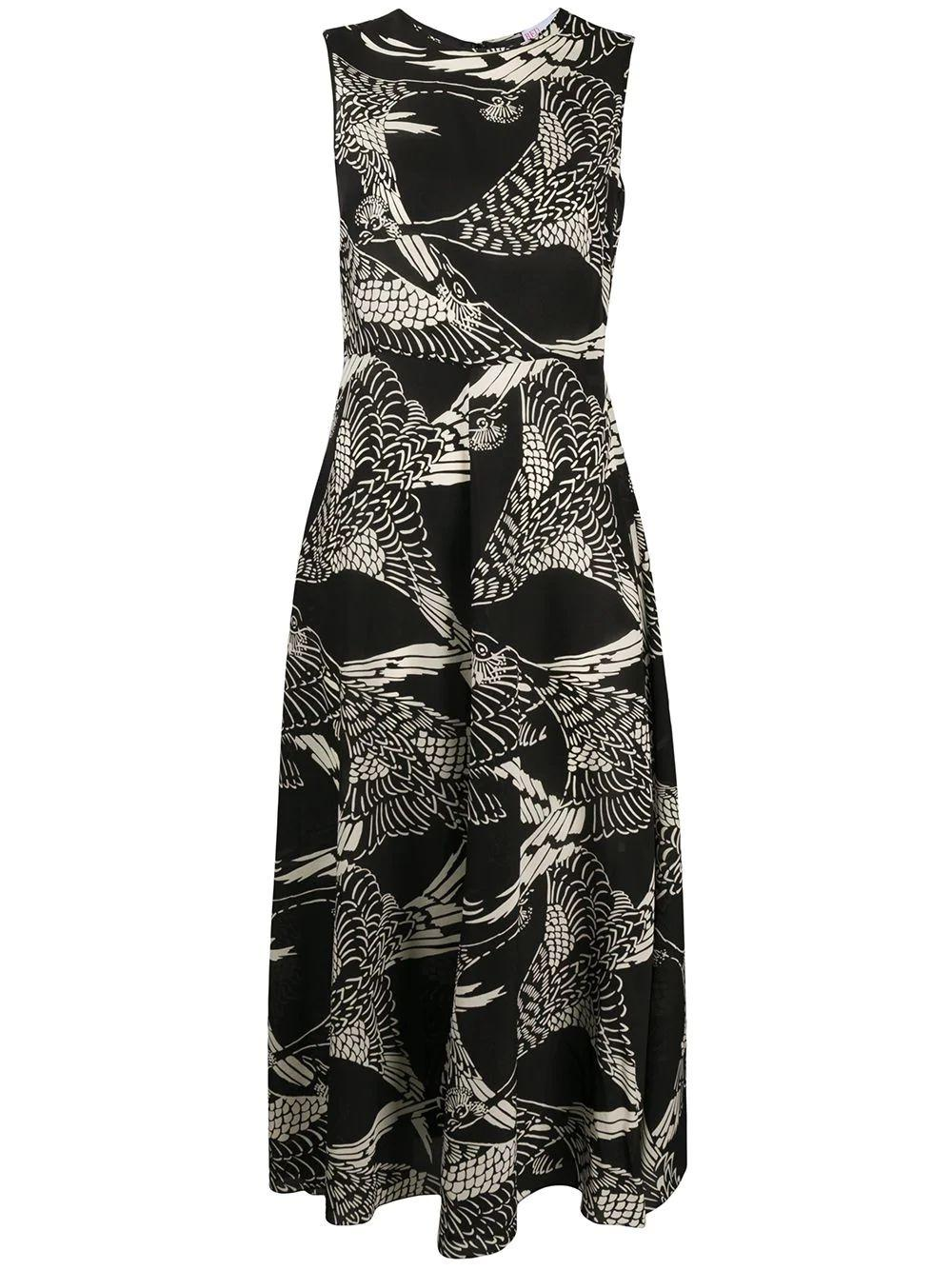 Sleeveless Printed Silk Long Dress