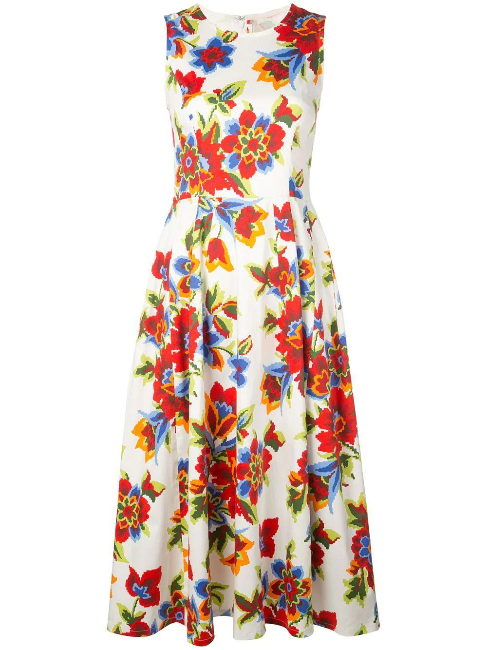 Sleeve Less Pixel Floral Print A Line Dress