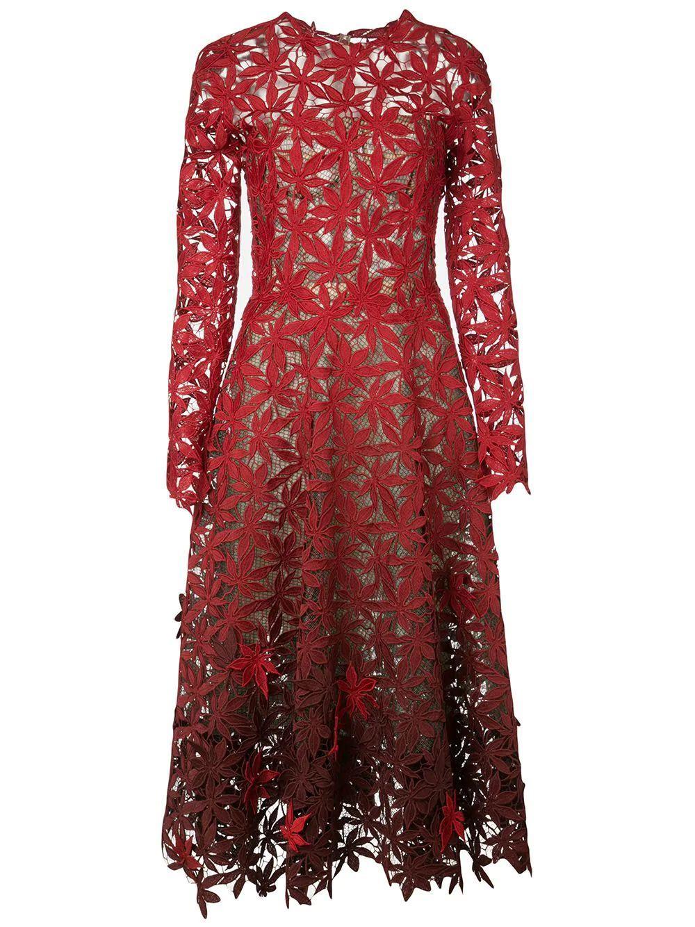 Long Sleeve Lace App.Midi Dress Item # 20RE653MLG