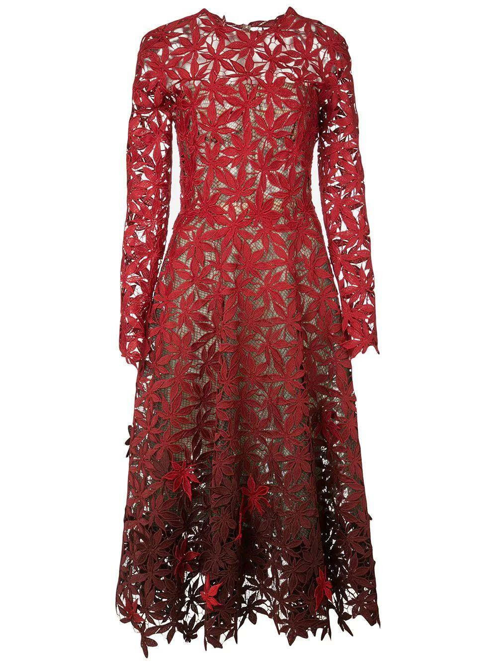 Long Sleeve Lace App. Midi Dress
