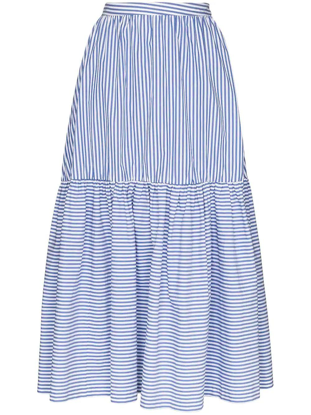 Orchid Striped Shirting Midi Skirt Item # 168-4049