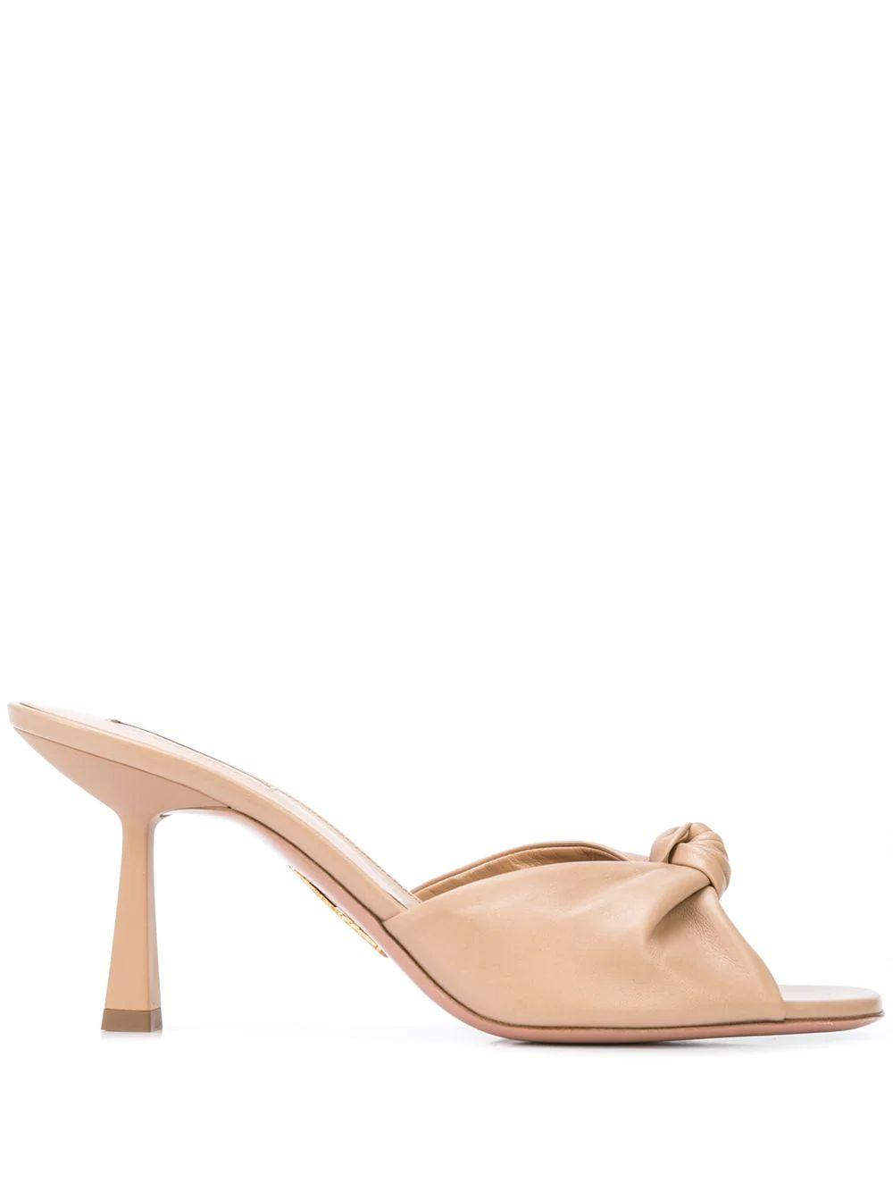 Pasha Leather 75mm Open Toe Mule Item # PSHMIDM0-NAP