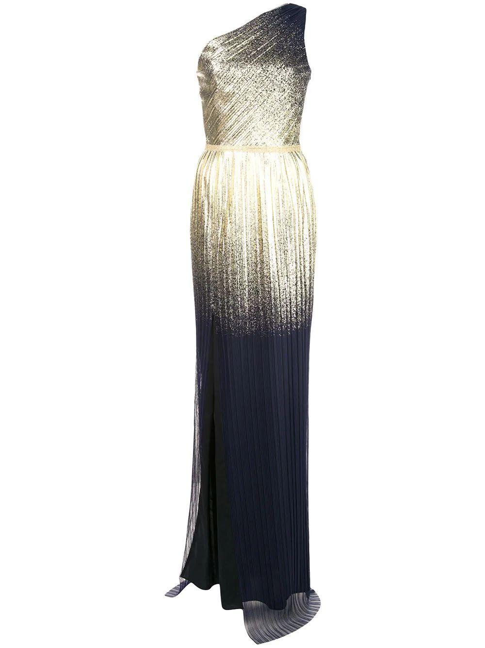One Shoulder Pleated Foil Gown Item # N36G1077