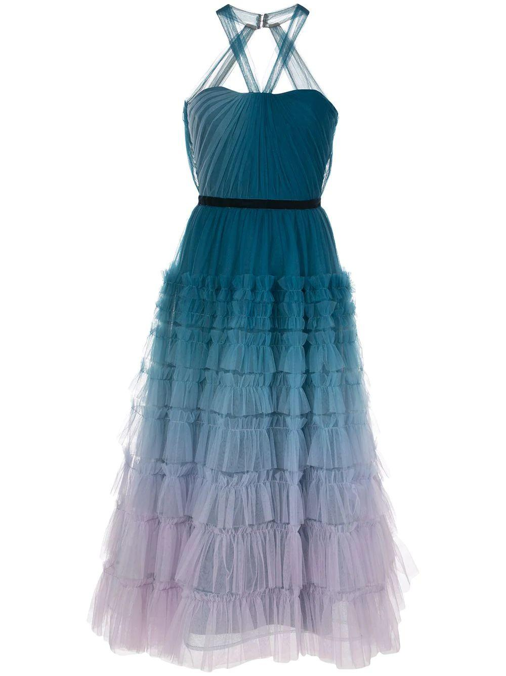 Sleeveless Ombre Textured Tulle Gown Item # N37M1164
