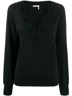 Long Sleeve V-Neck Knit Top With Tulle