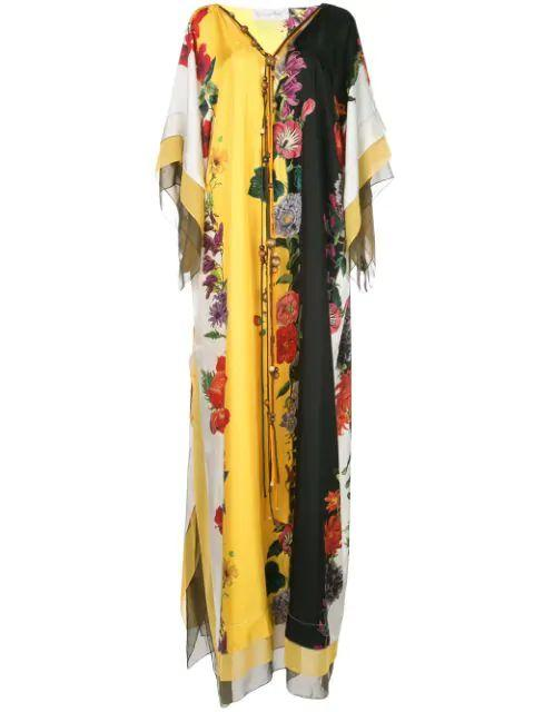 Caftan Floral Color Block With Neck Tie