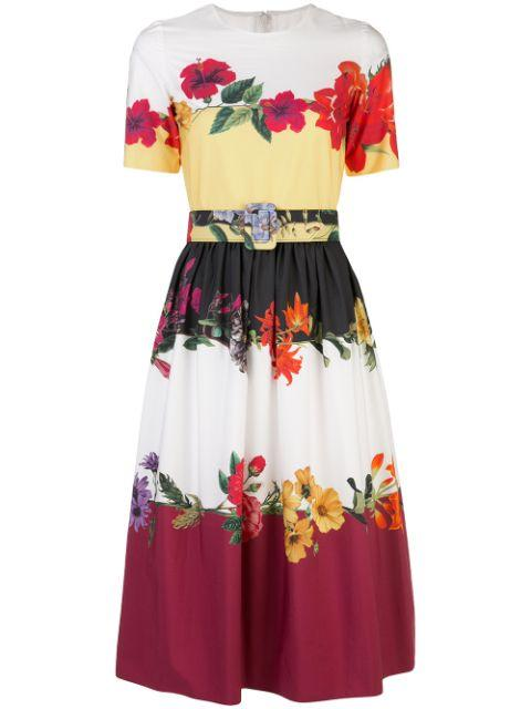 Short Sleeve Floral Colorblocked Dress With Full SK