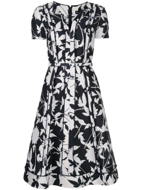 Short Sleeve Floral Jacquard Dress With Notched Neck