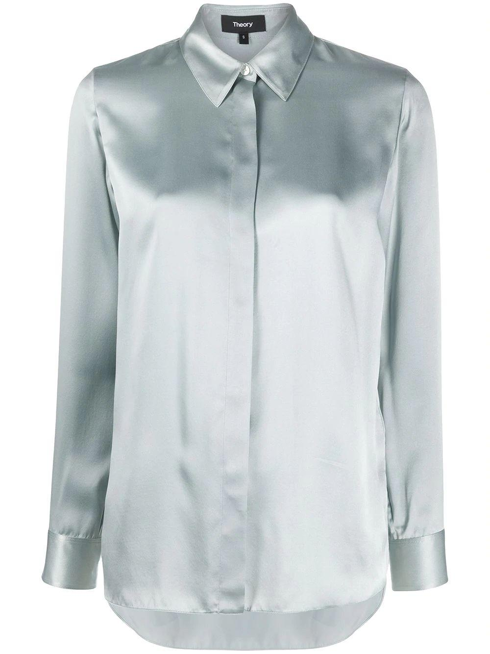 Classic Straight Silk Charm Button down Blouse